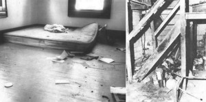 Интерьерчик дома Банишевски. Слева - место где нашли труп Сильвии.  Справа - подвал где, она жила последние месяцы. Фото из уголовного дела.