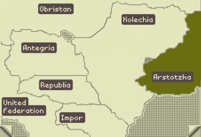 Карта мира. Славная Арстоцка - справа.